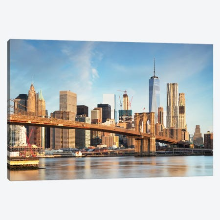 Brooklyn Bridge And Manhattan Skyline I Canvas Print #TEO547} by Matteo Colombo Canvas Wall Art