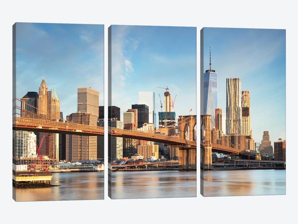 Brooklyn Bridge And Manhattan Skyline I by Matteo Colombo 3-piece Canvas Art Print