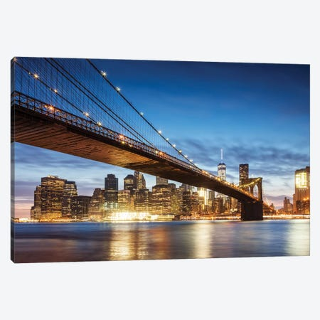 Brooklyn Bridge At Night, New York City Canvas Print #TEO548} by Matteo Colombo Art Print