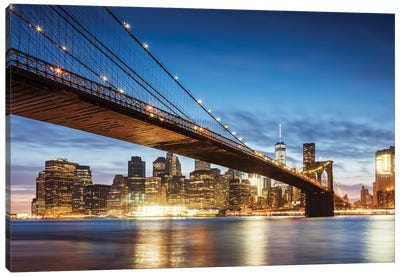 Brooklyn Bridge At Night, New York City Canvas Art Print