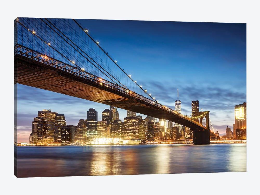 Brooklyn Bridge At Night, New York City by Matteo Colombo 1-piece Canvas Wall Art