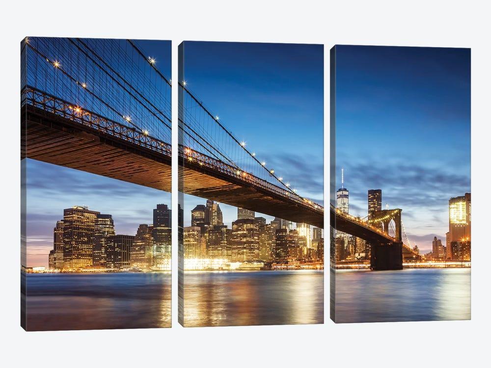 Brooklyn Bridge At Night, New York City by Matteo Colombo 3-piece Canvas Wall Art