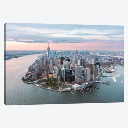 Lower Manhattan Peninsula At Sunset, New York City, New York, USA Canvas Print #TEO54} by Matteo Colombo Canvas Art