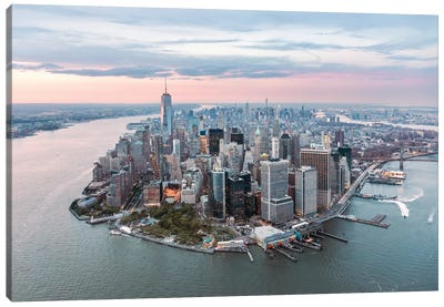 Lower Manhattan Peninsula At Sunset, New York City, New York, USA Canvas Art Print