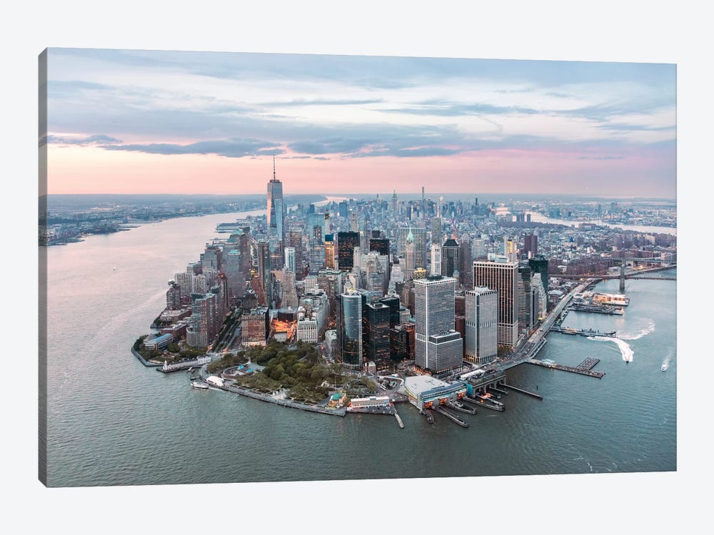 Lower Manhattan Peninsula At Sunset, New York City, New York, USA by Matteo Colombo 1-piece Canvas Art Print