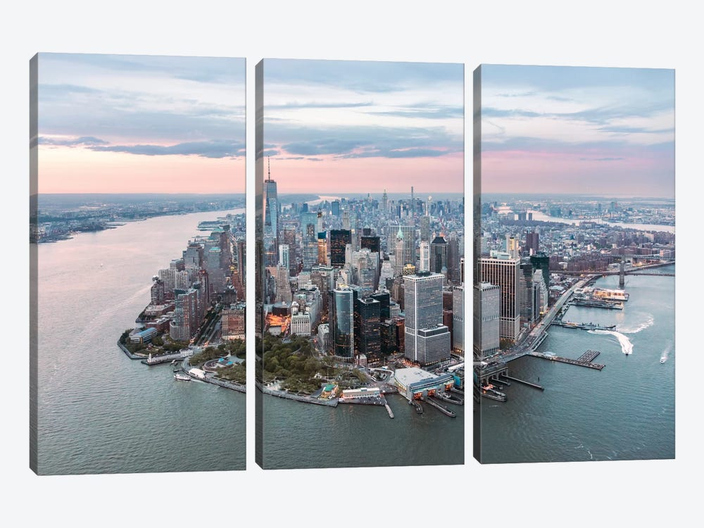 Lower Manhattan Peninsula At Sunset, New York City, New York, USA by Matteo Colombo 3-piece Canvas Art Print
