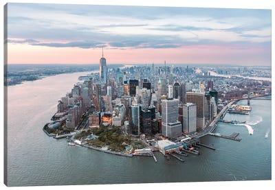 Lower Manhattan Peninsula At Sunset, New York City, New York, USA Canvas Art Print