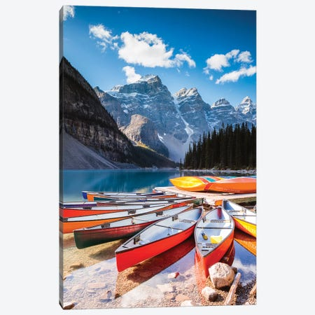 Canoes, Moraine Lake, Canada 3-Piece Canvas #TEO556} by Matteo Colombo Canvas Print