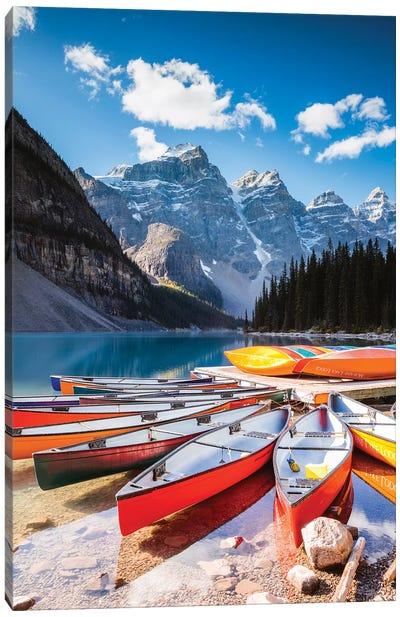 Canoes, Moraine Lake, Canada Canvas Art Print