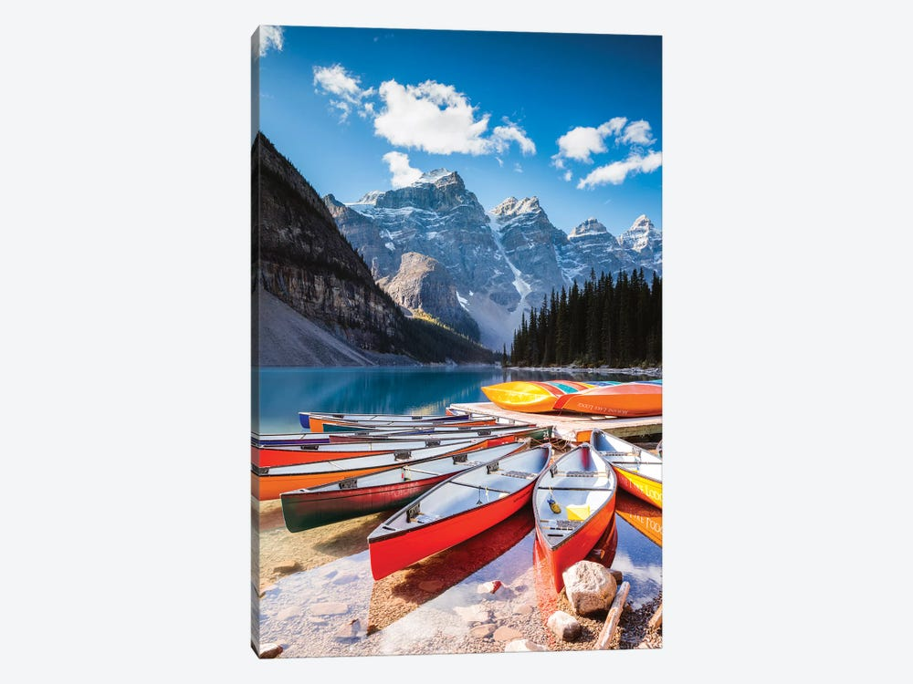 Canoes, Moraine Lake, Canada by Matteo Colombo 1-piece Canvas Art Print