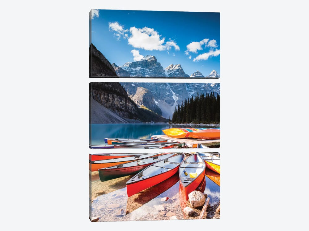 Canoes, Moraine Lake, Canada by Matteo Colombo 3-piece Art Print