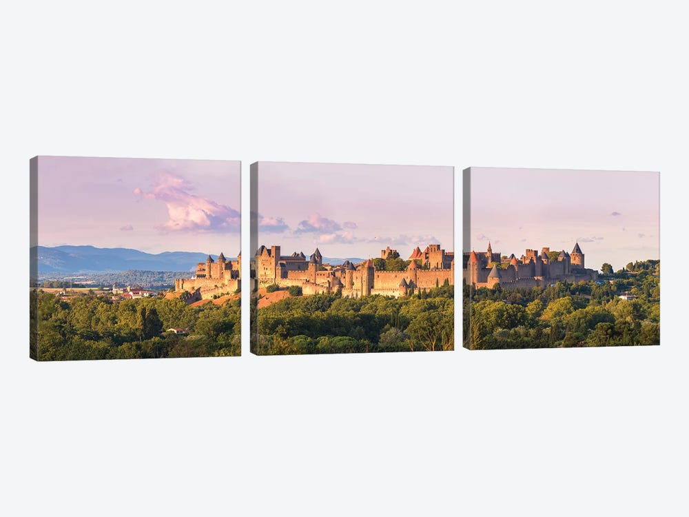 Carcassonne Panoramic, France by Matteo Colombo 3-piece Canvas Art