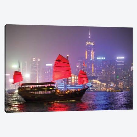 Chinese Junk Sail In Hong Kong Canvas Print #TEO561} by Matteo Colombo Art Print