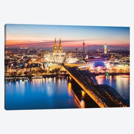 Cologne Skyline, Germany II Canvas Print #TEO564} by Matteo Colombo Canvas Wall Art