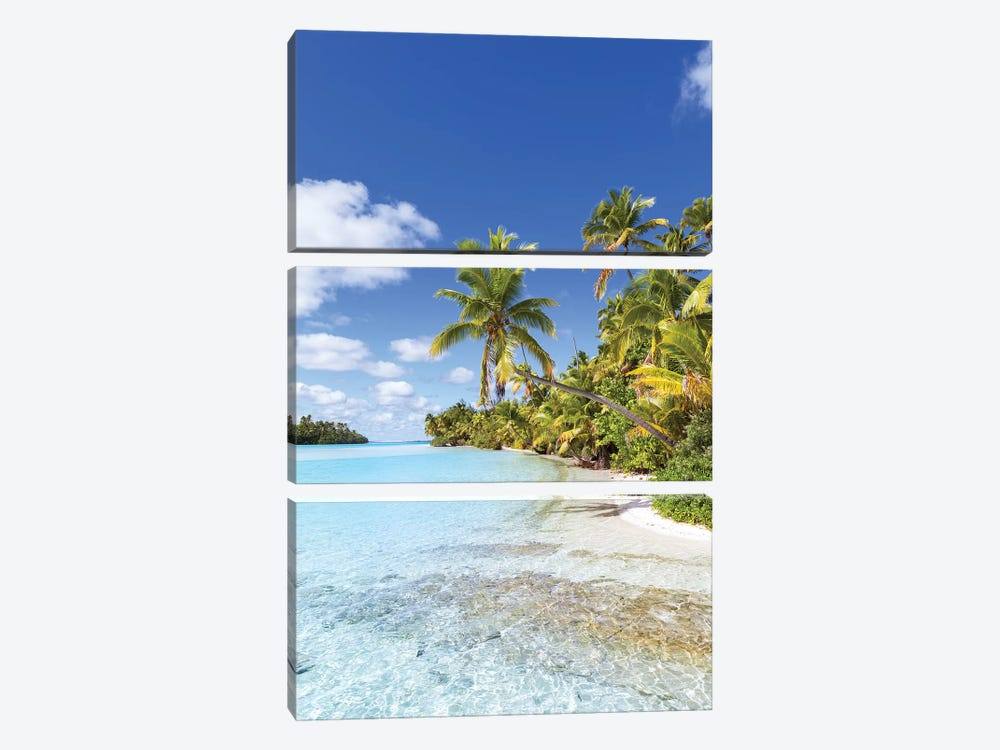 Dream Beach On One Foot Island, Cook Islands by Matteo Colombo 3-piece Canvas Print