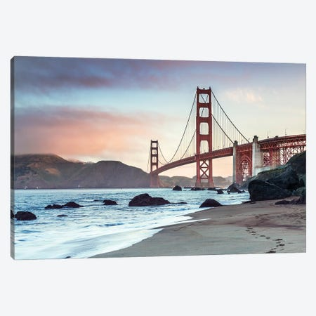 Golden Gate Bridge At Sunrise Canvas Print #TEO577} by Matteo Colombo Canvas Print