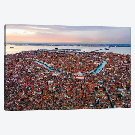 Grand Canal Aerial, Venice I Canvas Print #TEO579} by Matteo Colombo Canvas Art