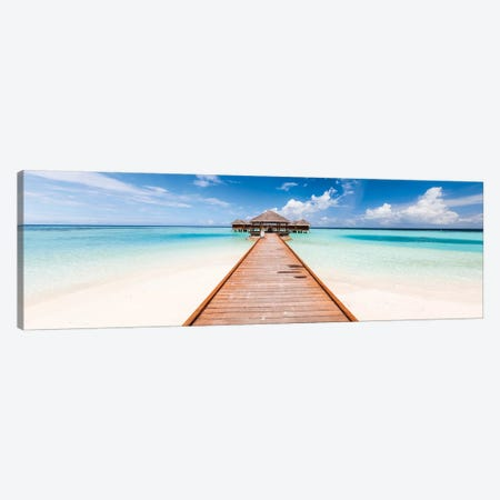 Jetty On A Tropical Island, Maldives Canvas Print #TEO588} by Matteo Colombo Art Print