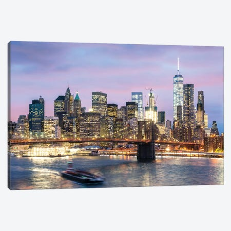 Manhattan At Dusk, New York City, USA Canvas Print #TEO597} by Matteo Colombo Canvas Art Print