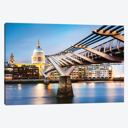 Millennium Bridge And St Paul'S Cathedral, London Canvas Print #TEO607} by Matteo Colombo Canvas Print