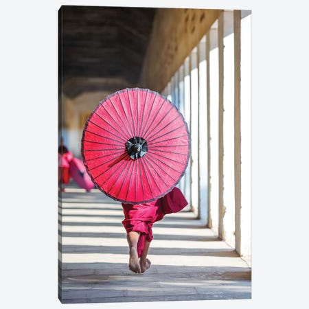 Monk With Umbrella, Myanmar Canvas Print #TEO609} by Matteo Colombo Canvas Wall Art