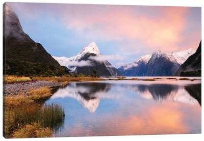 Milford Sound & Mitre Peak At Sunrise, South Island, New Zealand Canvas Art Print