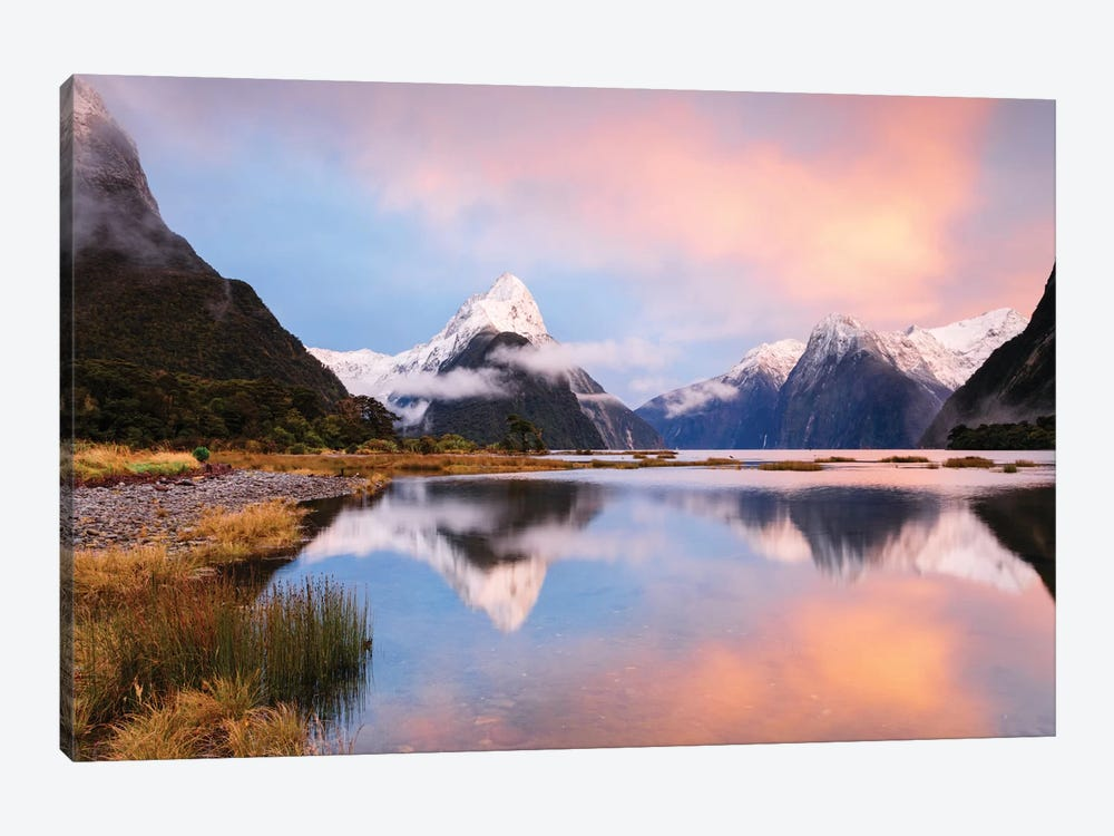 Milford Sound & Mitre Peak At Sunrise, South Island, New Zealand by Matteo Colombo 1-piece Canvas Wall Art