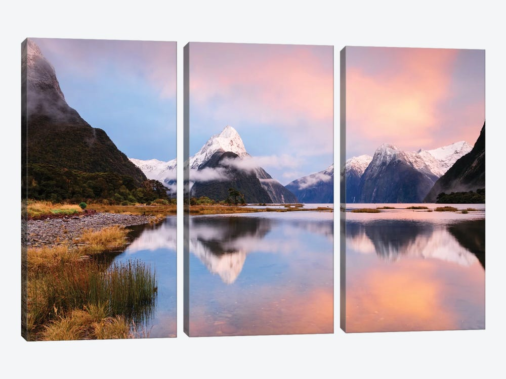 Milford Sound & Mitre Peak At Sunrise, South Island, New Zealand by Matteo Colombo 3-piece Canvas Artwork
