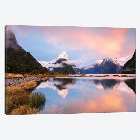 Milford Sound & Mitre Peak At Sunrise, South Island, New Zealand Canvas Print #TEO60} by Matteo Colombo Canvas Art