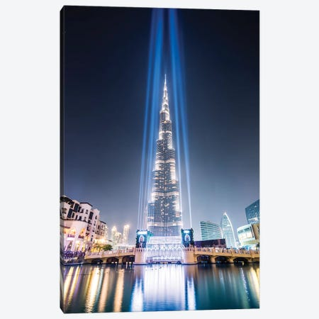Night At Burj Khalifa, Dubai Canvas Print #TEO612} by Matteo Colombo Canvas Art Print