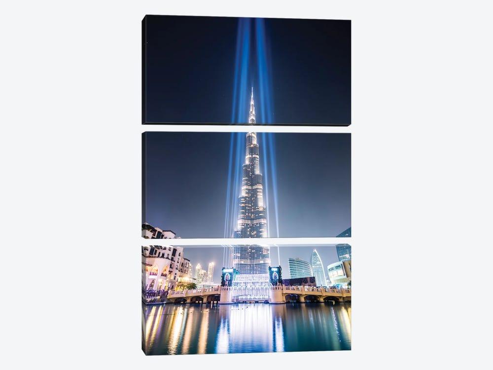Night At Burj Khalifa, Dubai by Matteo Colombo 3-piece Canvas Print