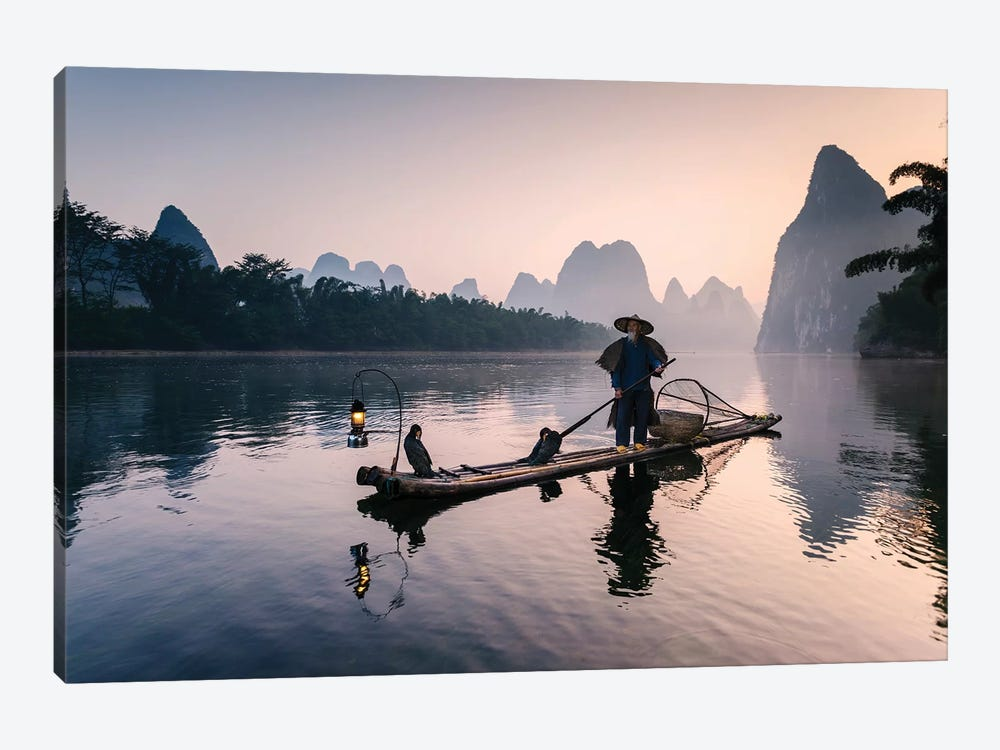 Old Chinese Fisherman by Matteo Colombo 1-piece Canvas Print