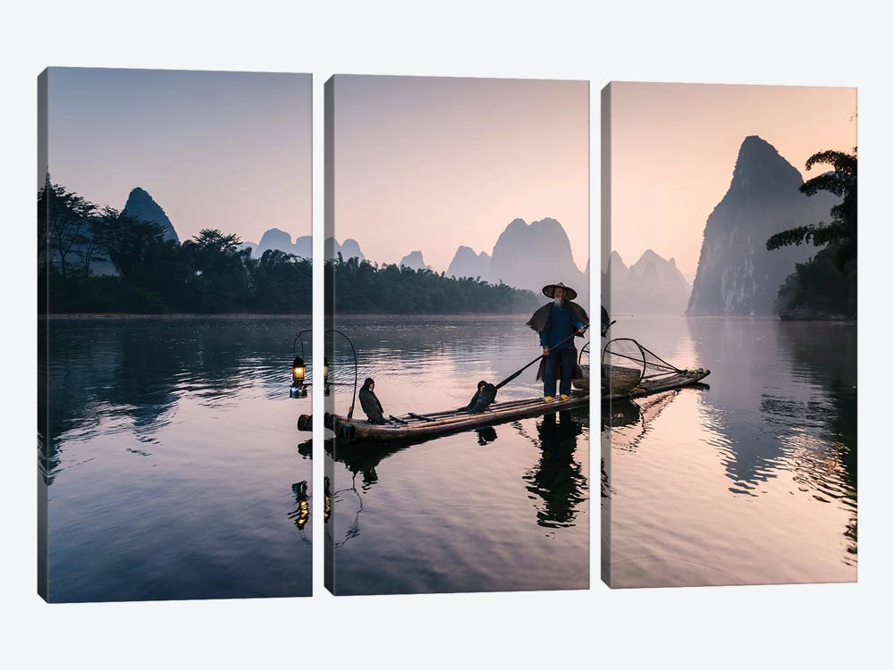 Old Chinese Fisherman 3-piece Art Print