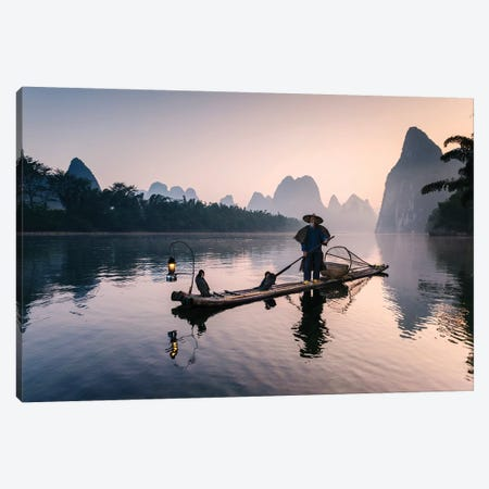 Old Chinese Fisherman Canvas Print #TEO614} by Matteo Colombo Canvas Art
