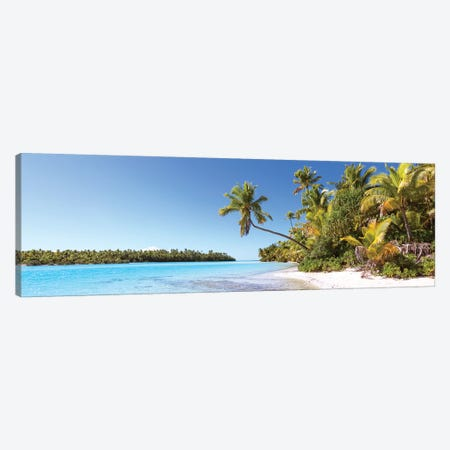 One Foot Island Panoramic, Aitutaki, Cook Islands Canvas Print #TEO615} by Matteo Colombo Canvas Artwork