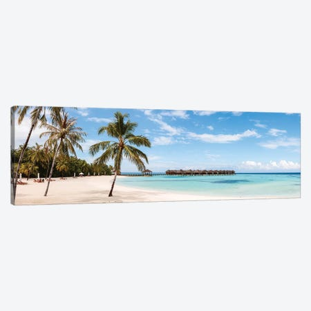 Palm Fringed Beach, Maldives Canvas Print #TEO617} by Matteo Colombo Canvas Wall Art