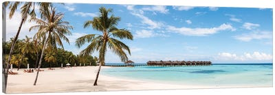 Palm Fringed Beach, Maldives Canvas Art Print