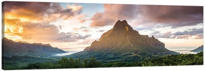 Panoramic Of Moorea At Sunset, Polynesia Canvas Art Print