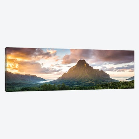 Panoramic Of Moorea At Sunset, Polynesia Canvas Print #TEO619} by Matteo Colombo Art Print