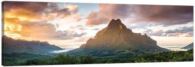 Panoramic Of Moorea At Sunset, Polynesia Canvas Art Print