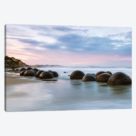 Moeraki Boulders At Sunset, Koekohe Beach, Otago, South Island, New Zealand Canvas Print #TEO61} by Matteo Colombo Canvas Wall Art
