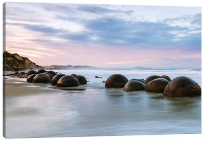 Moeraki Boulders At Sunset, Koekohe Beach, Otago, South Island, New Zealand Canvas Art Print