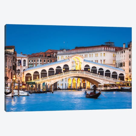Rialto Bridge And Gondola, Venice, Italy Canvas Print #TEO625} by Matteo Colombo Canvas Print