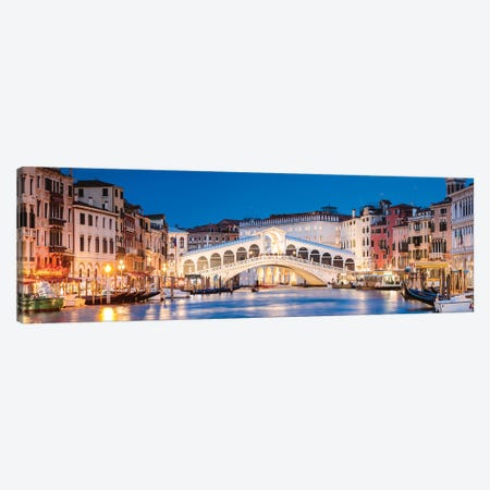 Rialto Bridge At Night, Venice Canvas Print #TEO626} by Matteo Colombo Canvas Art Print