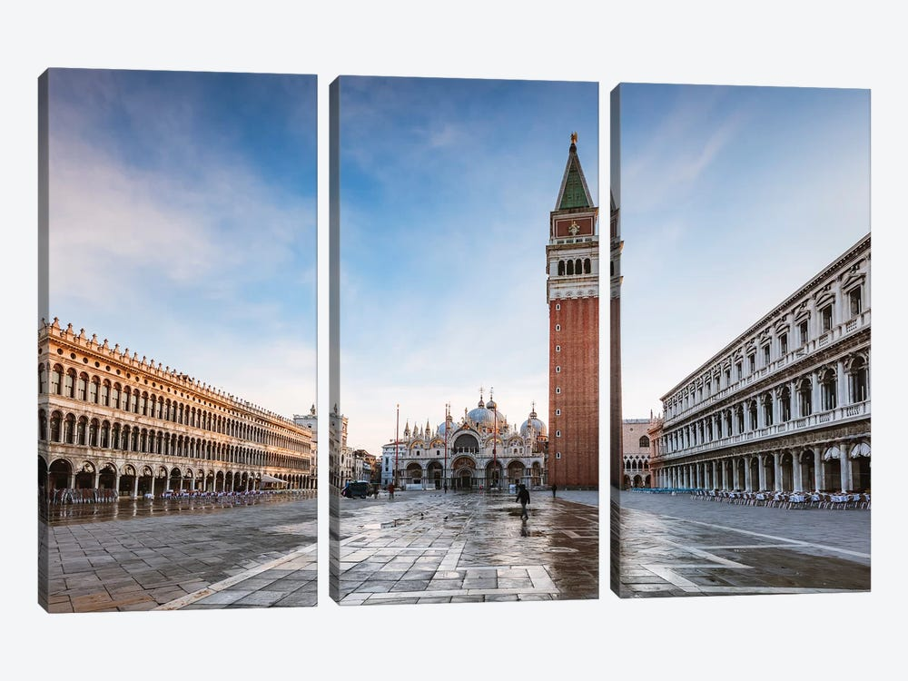 St Mark's Square At First Light, Venice, Italy by Matteo Colombo 3-piece Canvas Art