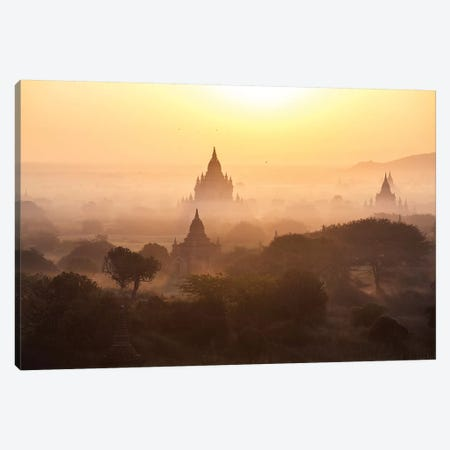 Sunrise Over The Temples Of Bagan, Myanmar Canvas Print #TEO639} by Matteo Colombo Art Print