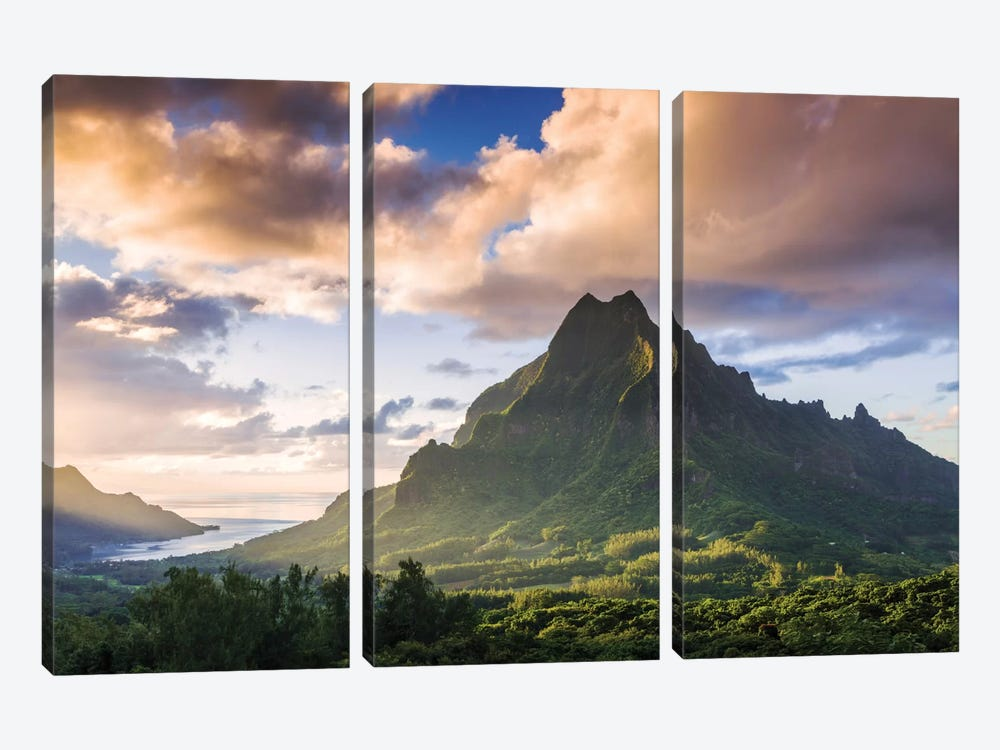 Mount Rotui, Mo'orea, Windward Islands, Society Islands, French Polynesia by Matteo Colombo 3-piece Art Print