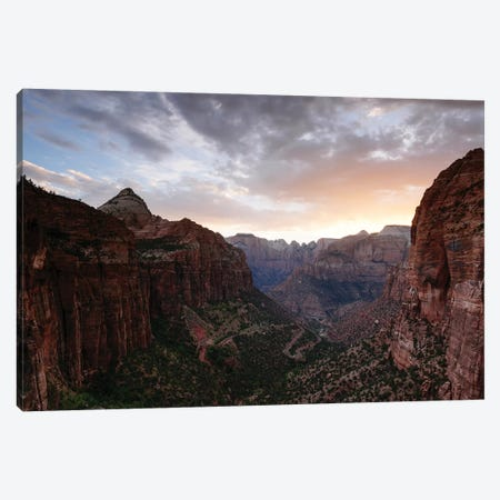 Sunset At Zion Canyon Canvas Print #TEO640} by Matteo Colombo Canvas Artwork