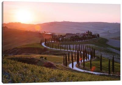 Sunset Over Tuscany Hills Canvas Art Print