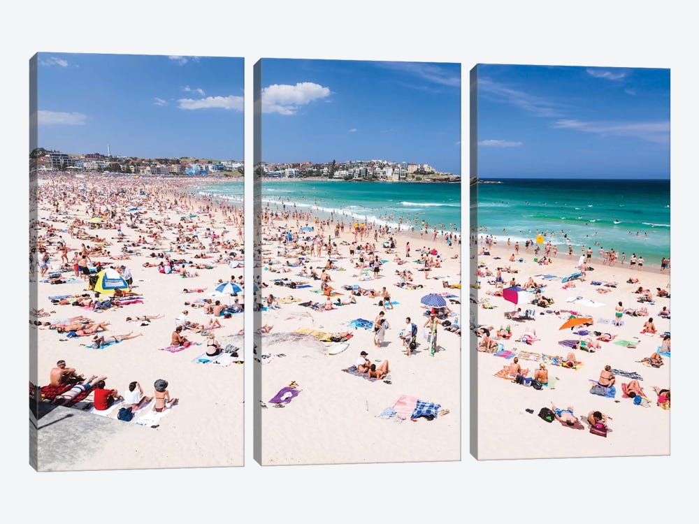 New Year's Day, Bondi Beach, Sydney, New South Wales, Australia 3-piece Canvas Art